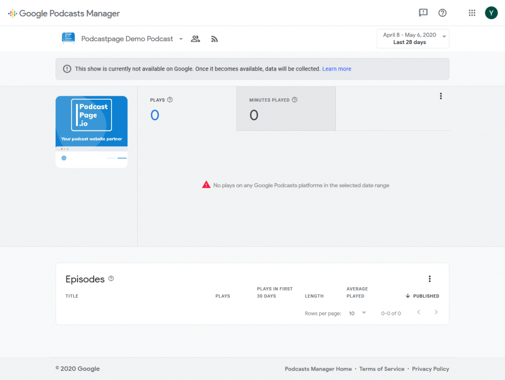 Google Podcasts analytics dashboard