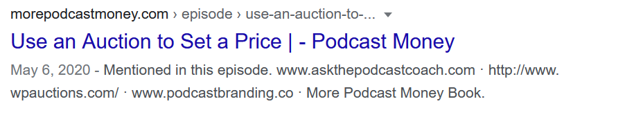 podcast episode search appearance