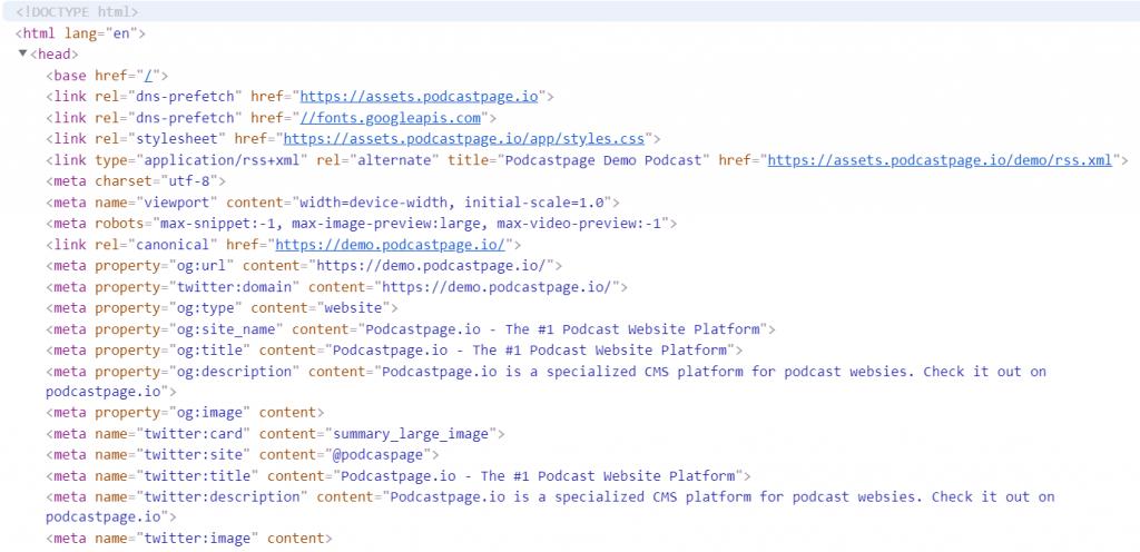 Podcast meta tags