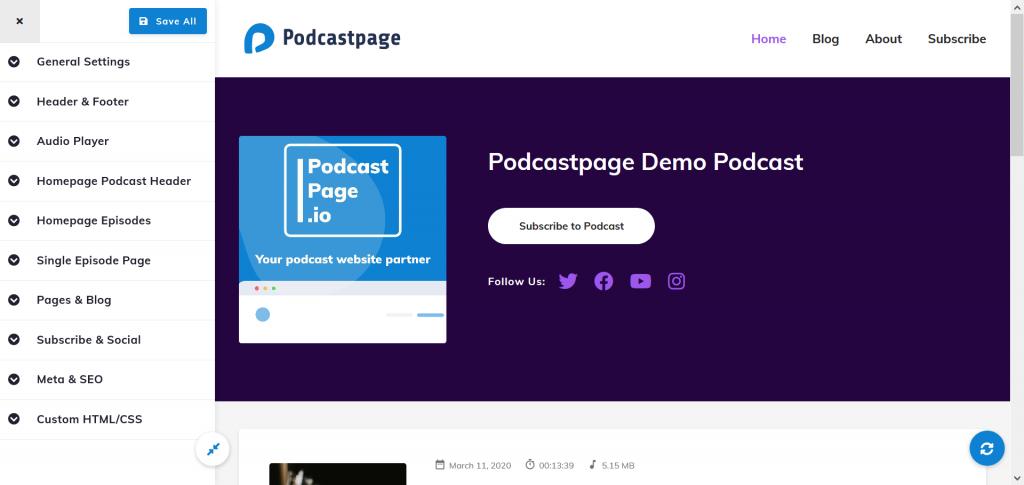 Podcastpage.io live customizer