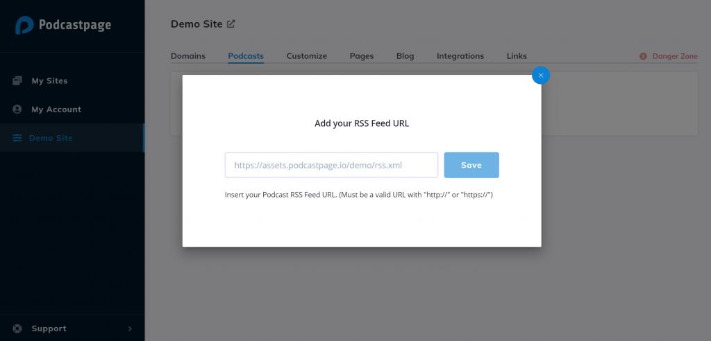 Podcastpage.io add PodBean RSS Feed