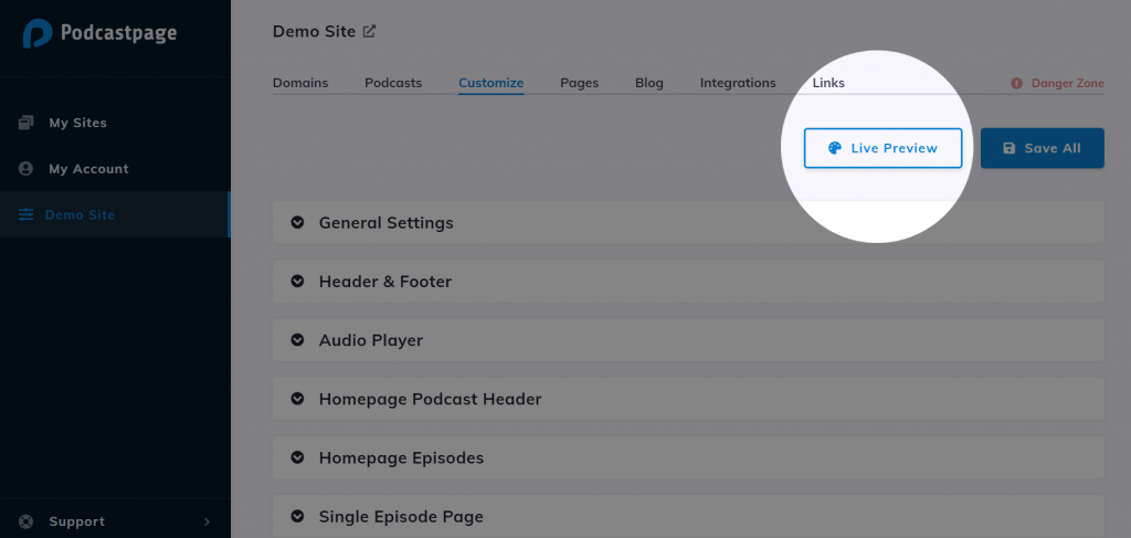 Podcastpage.io Live Preview