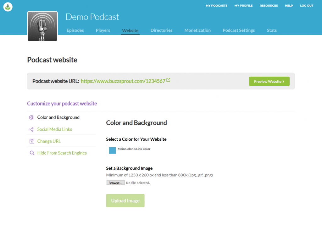 Buzzsprout podcast website