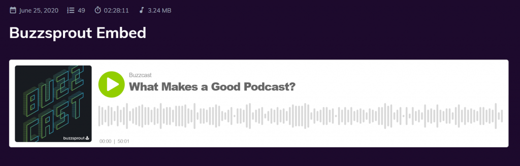 Podcastpage audio player embed iframe
