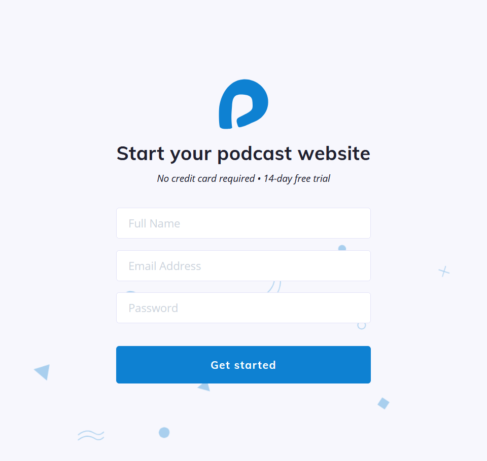 create a podcast website -Podcastpage.io signup