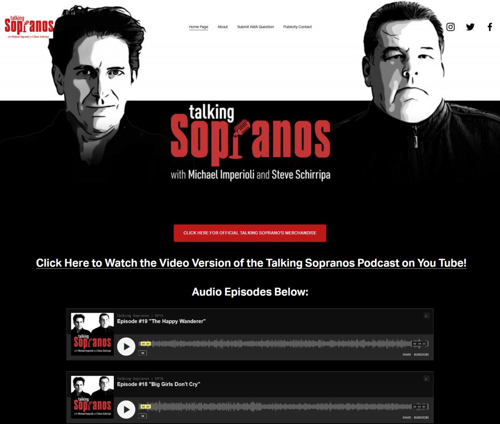 podcast website example - talking sopranos
