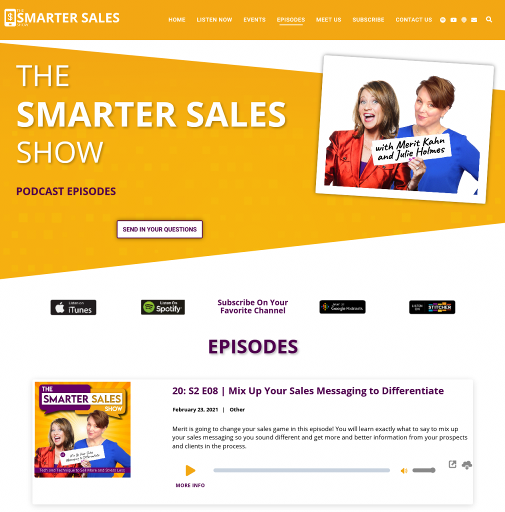 podcast site example - the smartest sales show