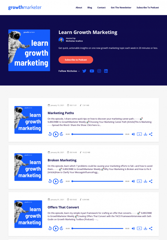 learn growth marketing podcast website example