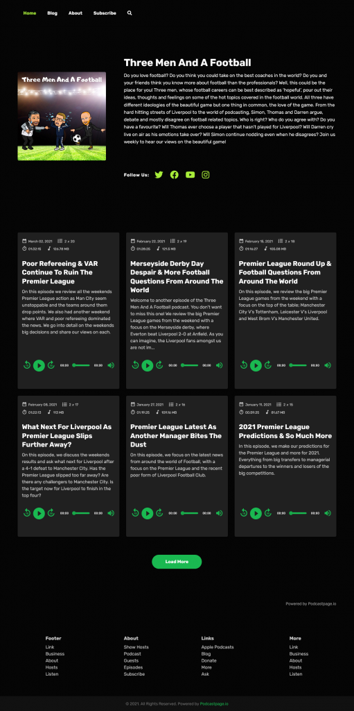 Transistor podcast website on Podcastpage