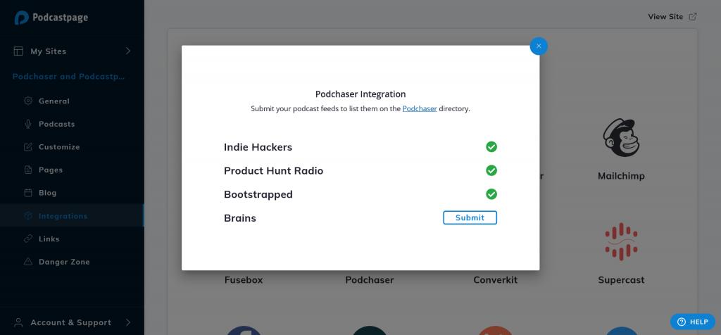 podchaser integration - podcastpage