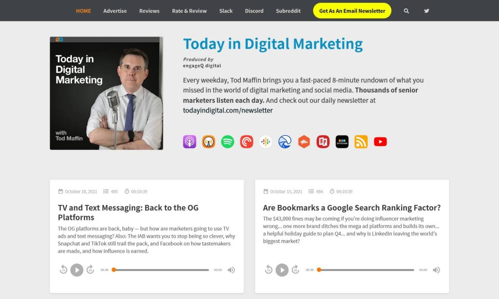 today in digital marketing podcast website example